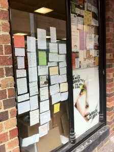 The housing ad window at Readings book shop near Melbourne University. Image from