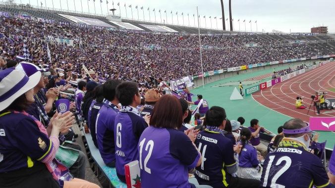 Soccer at Edeon Stadium, Hiroshima. Purple=San Frecce=Hiroshima