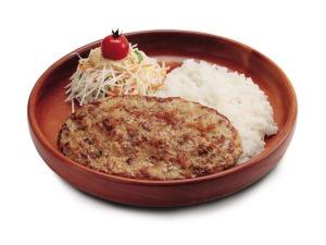 Hamburger steak on the menu at chain restaurant Bikkuri Donkey