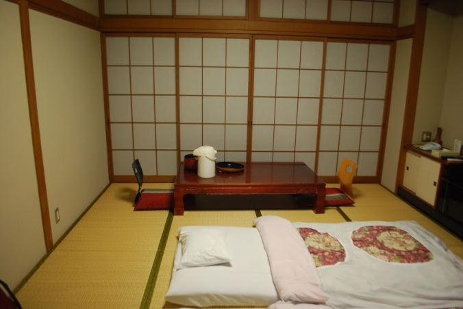 When you stay in a ryokan, at some point while you are at dinner or going somewhere, the staff come, move the table and lay out the futon for you.